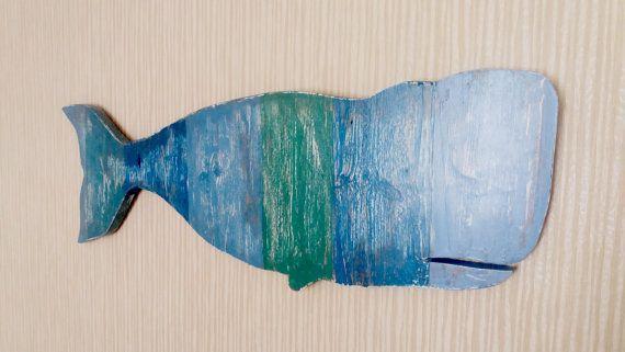 Wooden Whale Wall Art wooden big blue whale wall sign ocean wall decor beach home decor
