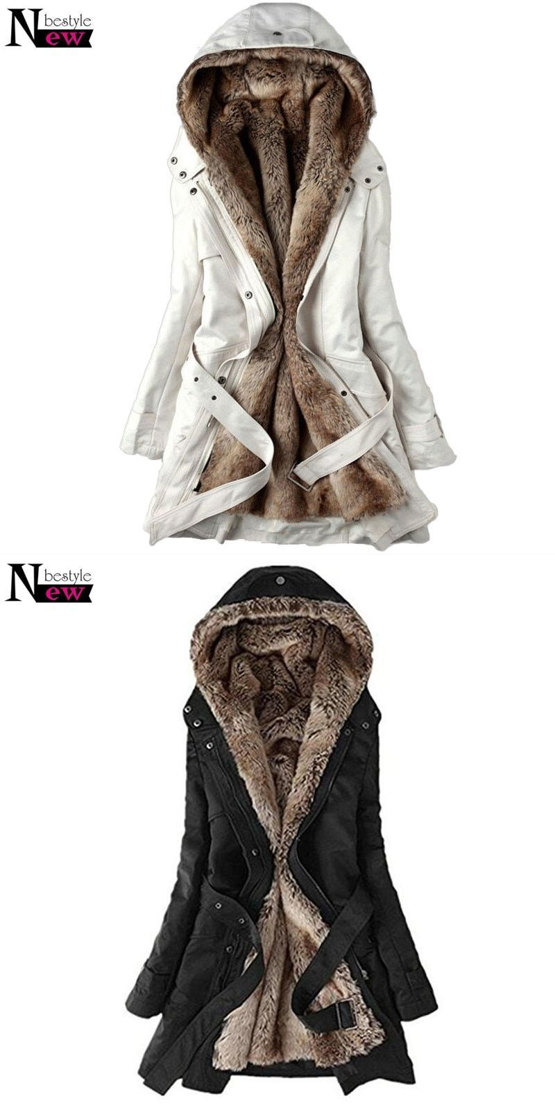 8cd93765a Fashion women's winter faux fur lining coats warm long cotton-padded ...