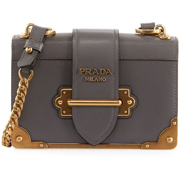 554d69b8b0 Prada Cahier Small Leather Trunk Crossbody Bag (14.285 HRK) ❤ liked on  Polyvore featuring bags