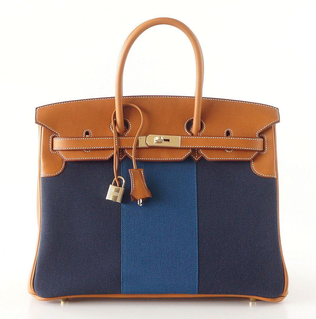 d03f6dd188 Hermes #Birkin #Bag Blue Flag Toile Barenia Permabrass Hardware ...