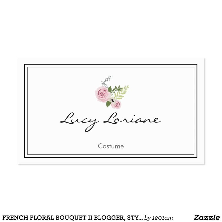 French floral bouquet ii blogger, stylist business card | Business ...