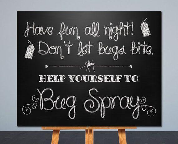 Wedding Bug Spray Sign Printable Wedding Sign Chalkboard Sign Card Table Sign 8x10 Printable Wedding Sign Wedding Chalkboard Signs Bug Spray Wedding