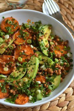 salade de lentilles et patates douces Salade chaude  froide de lentilles patate docue sautée  avocat3