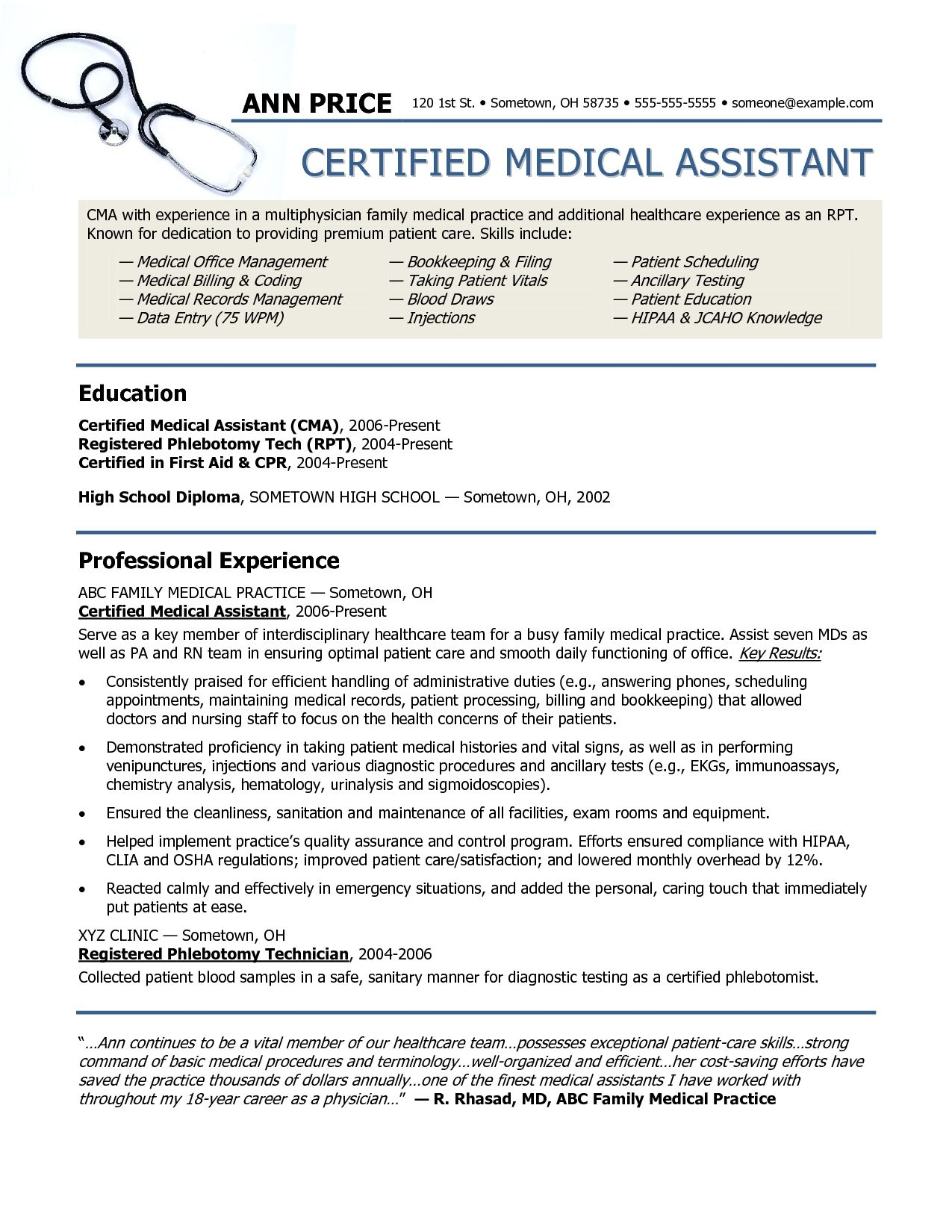 Medical Resumes Examples Resume Examples Medical Assistant  Resume Examples  Pinterest .