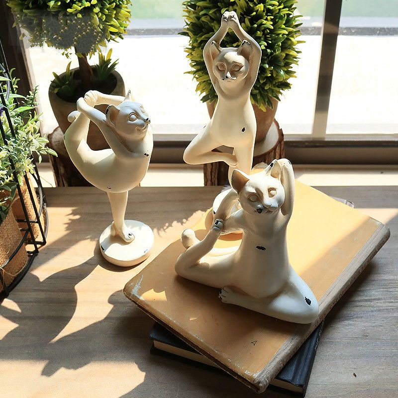 Details About Yoga Cat Resin Figurine Yoga Pose Statue Fun Animal Decor Home Accessories White