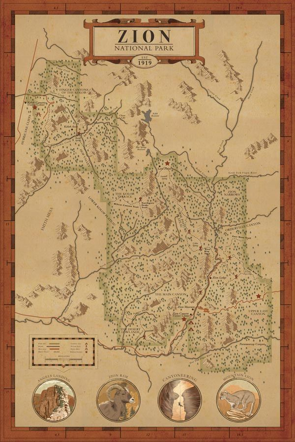 Zion National Park Map Print in 2019 | National Park Art | National on