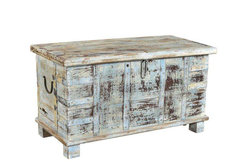 Gekleurde kist in sloophout, Nederland vintage - brocante salontafels en kisten - brocante meubels ook in vintage en retro goedkoopste in Nederland - Teak Paleis
