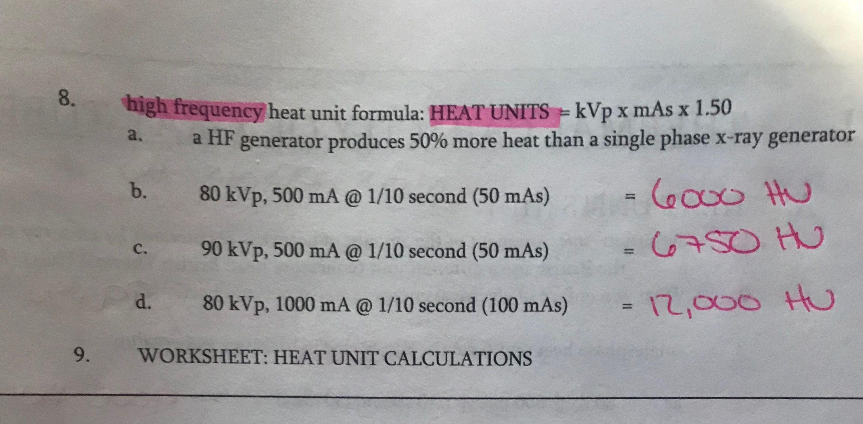 Heat Units Hf