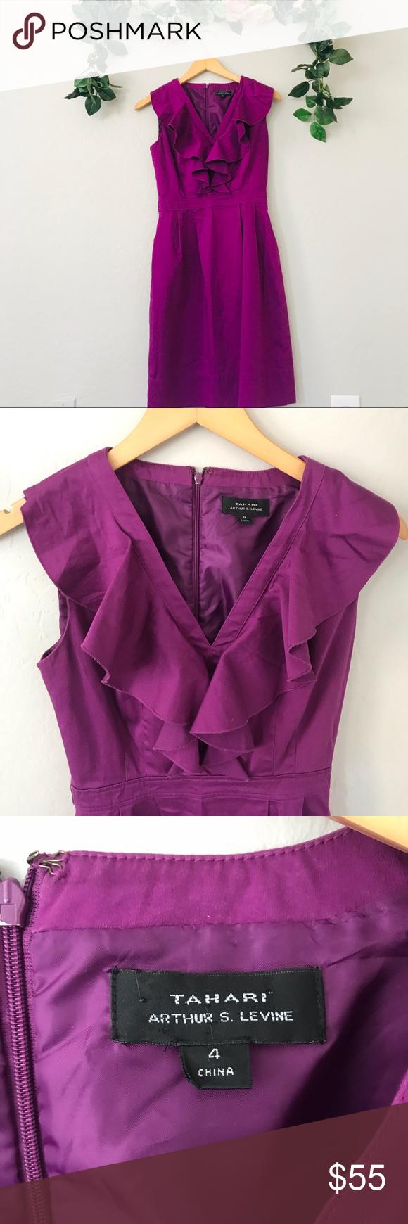 Tahari Purple V Neck Dress Size 4 Clothes Design V Neck Dress Colorful Dresses [ 1740 x 580 Pixel ]