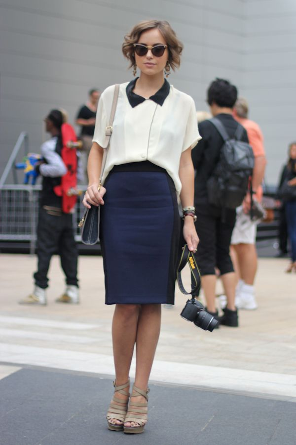 Navy pencil skirt with a cream color-block collar blouse | Navy ...