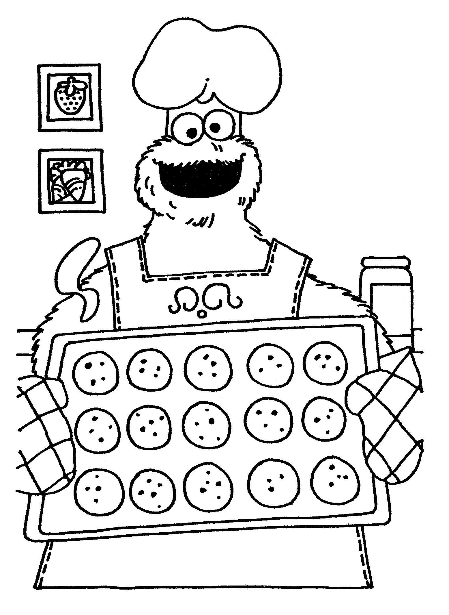 Cookie Monster Baking Coloring Pages Sesame Street Coloring