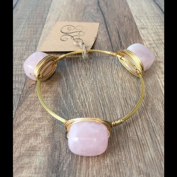 SUMMER BLOWOUT SALE-Rose Quart Bangle Bracelet Sydney Elle Designs  What a lovely bracelet for a sweet summer day!  Rose Quartz 3 stone Bracelet. Vintage & repurposed  Locally Handmade in South Carolina Jewelry Bracelets