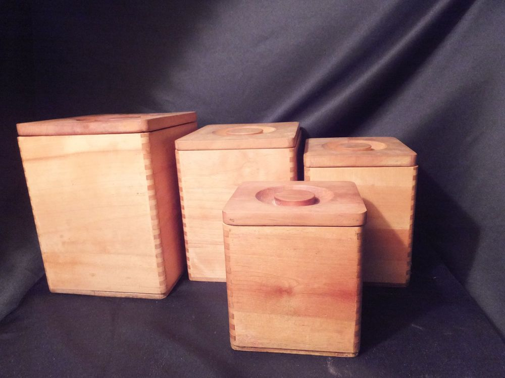 Vintage Wooden Canister Set~4 Canisters~Nesting~Kitchen Storage~Decor