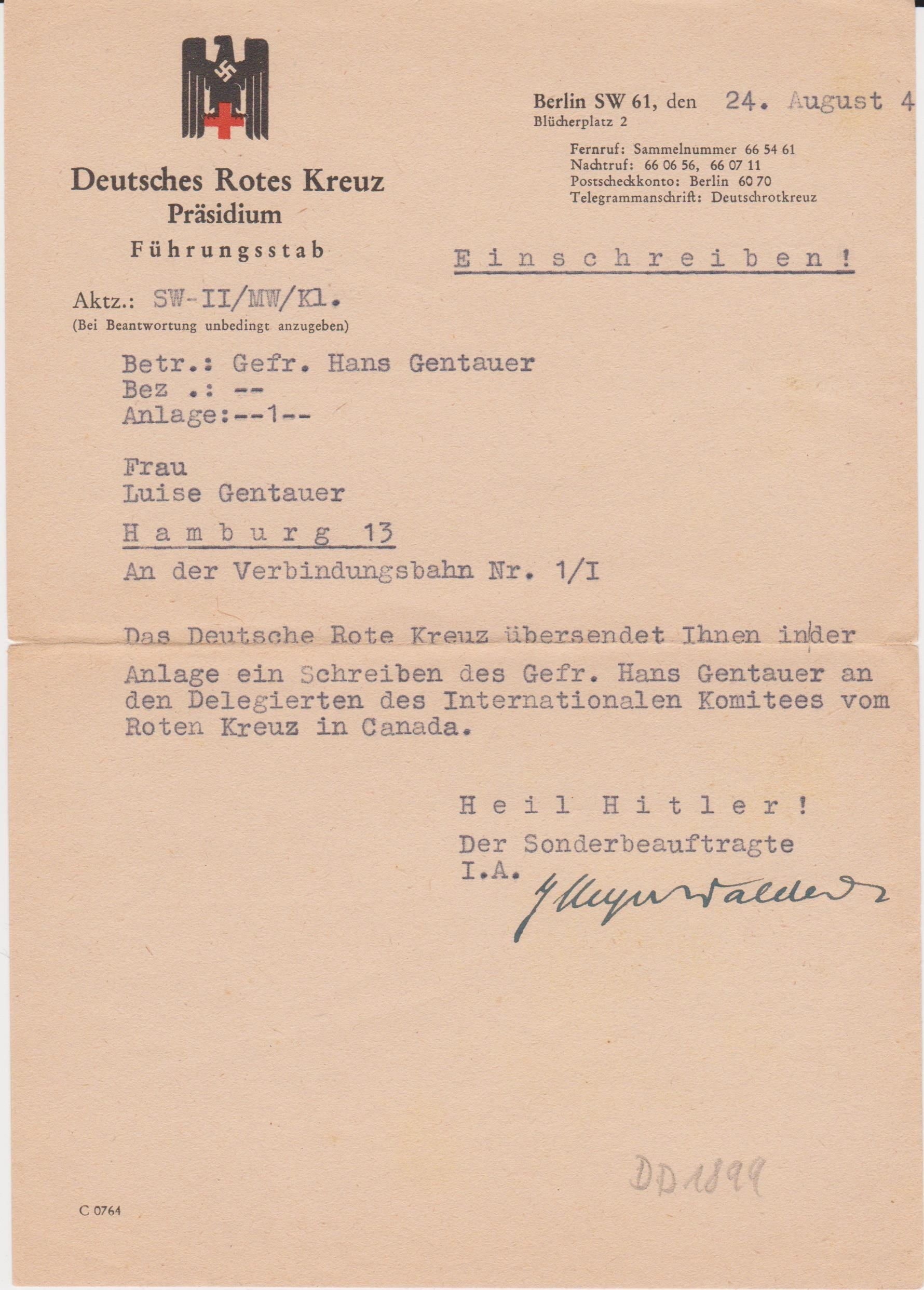 German Red Cross Document On Stationary LetS The Wife Of A
