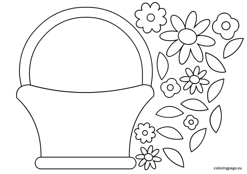 Basket Flowers Template Coloring Page Flower Templates Printable Free Flower Templates Printable Flower Template