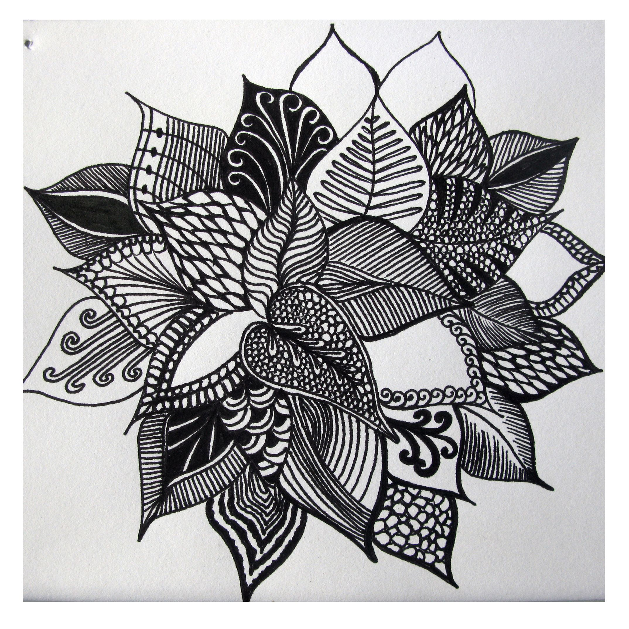 Abstract Pen Drawings Of Flowers Abstract Flower Drawing