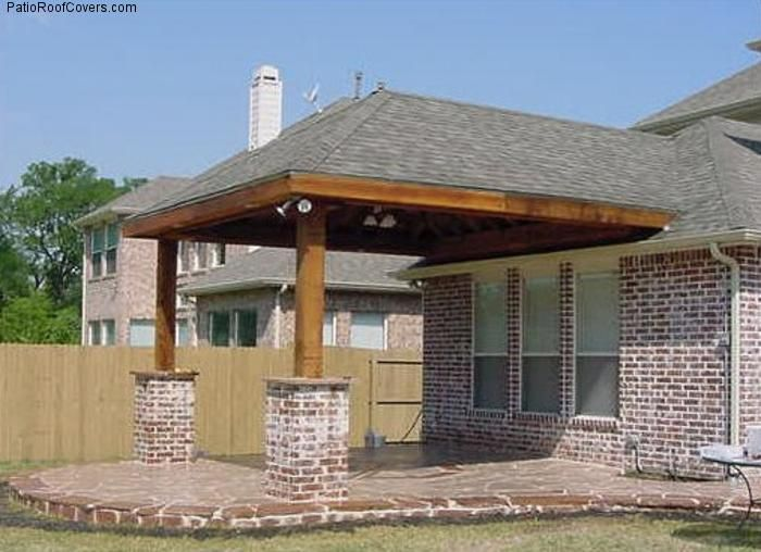 Building a hip roof patio cover patio roof designs for Porch roof plans