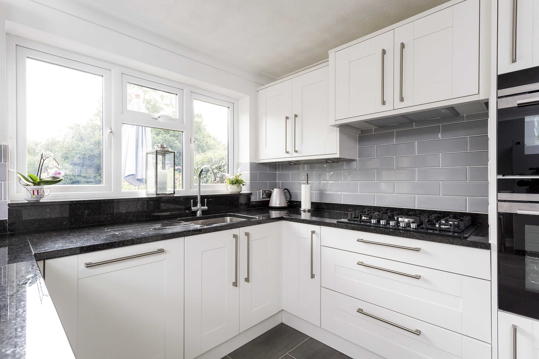 Broadoak Shaker Kitchen In Chalk With Nero Assoluto Black