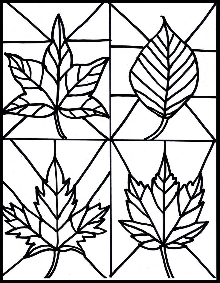 Free Fall Leaves Stained Glass Printable Clip Art Weather
