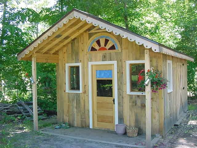 Rustic Garden Potting Shed With Front Porch And Sunburst Window In The  Gable End