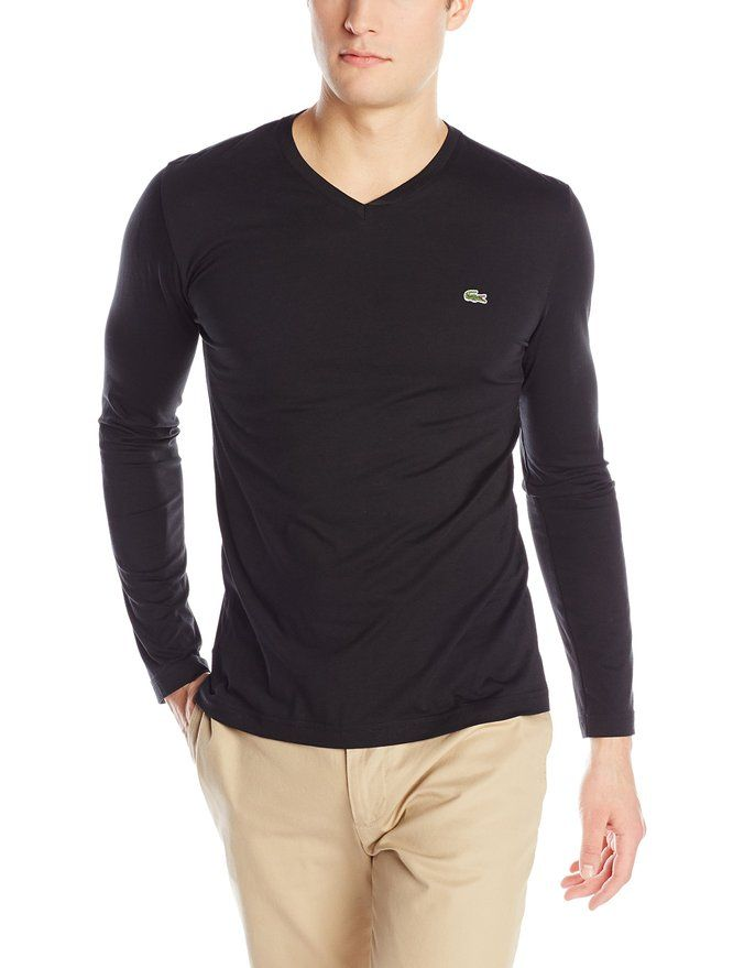 902ed154dc Lacoste Men's Long-sleeve Jersy pima v-neck t-shirt #vnecks #tee ...