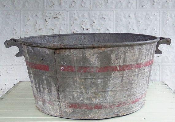 Vintage Galvanized Metal Wash Basin Farm Tub With Red Bands Stripes Galvanized Garden Tub Wash Basin Galvanized Metal Garden Tub