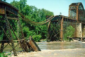 This railroad bridge at Glasgow, MO (near Columbia) washed