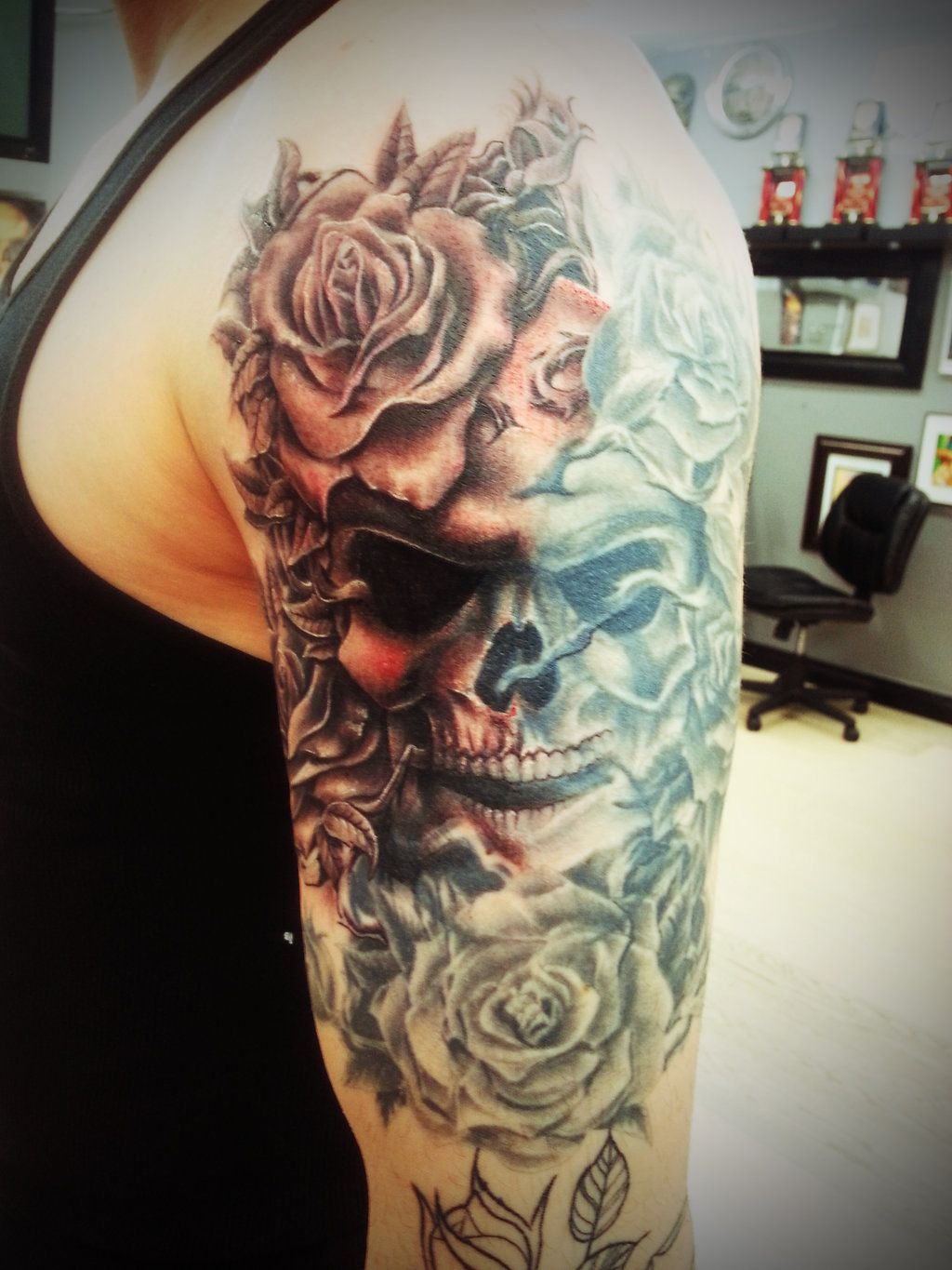 skull with roses on arm by thepipper27 tattoos. Black Bedroom Furniture Sets. Home Design Ideas