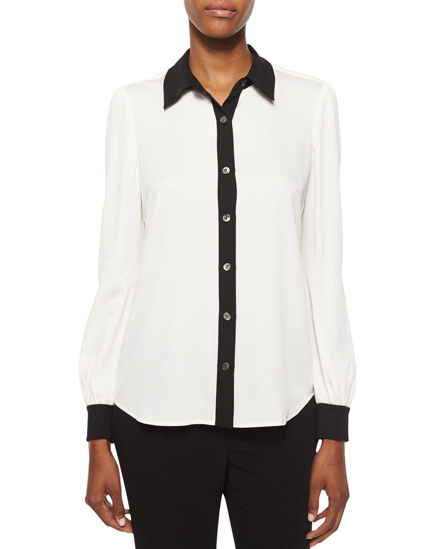 552aabfd1ff Mariah Contrast-Trim Silk Blouse, White/Black, Women's, Size: 0, Black/White  - Diane von Furstenberg