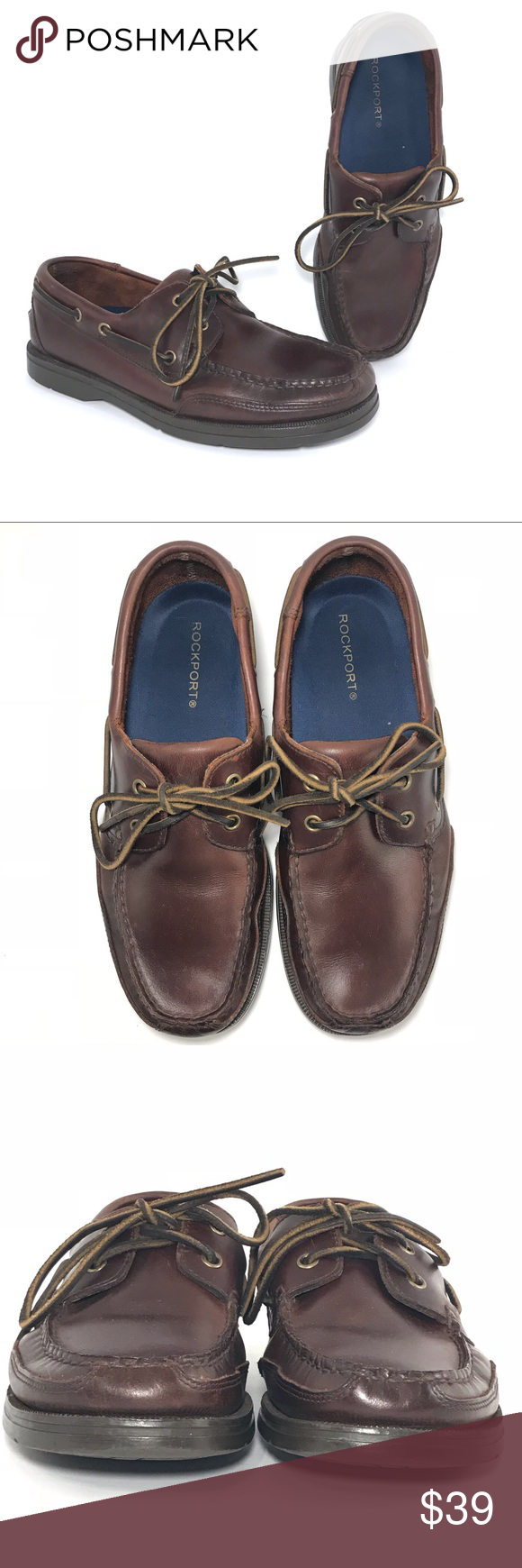 SOLD💥Rockport Boat Shoes Mahogany Leather (con imágenes)