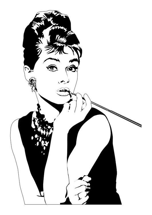 Dibujo para colorear audrey hepburn audrey pop art - Laminas audrey hepburn ...