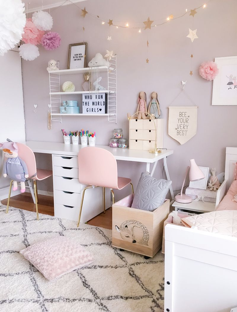 A Scandinavian style Shared Girls Room  by Kids Interiors love the color scheme maybe for my office