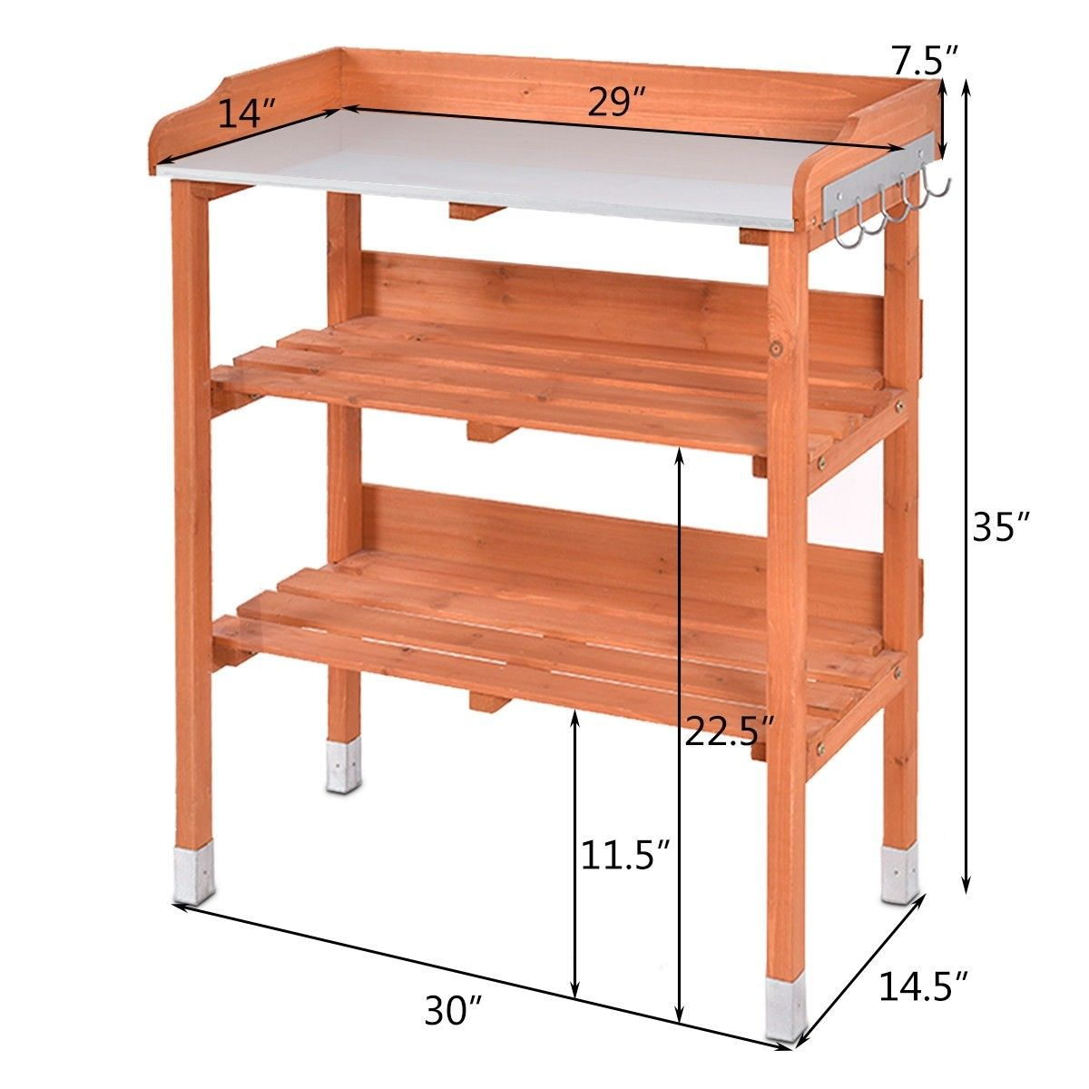 Garden Wooden Potting Bench Work Station With Hook Material Chinese Fir Wood And Metal Sheet Overall Dimension Potting Bench Garden Tool Storage Workstation