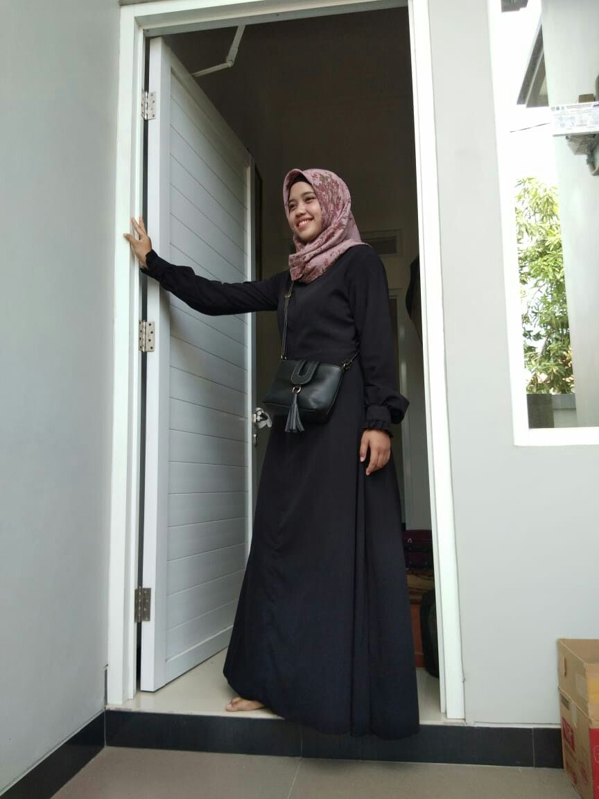 Outfit Of The Day Hijab By Me With Longdress Gamis Black Gamis 2018 Ootdhijab