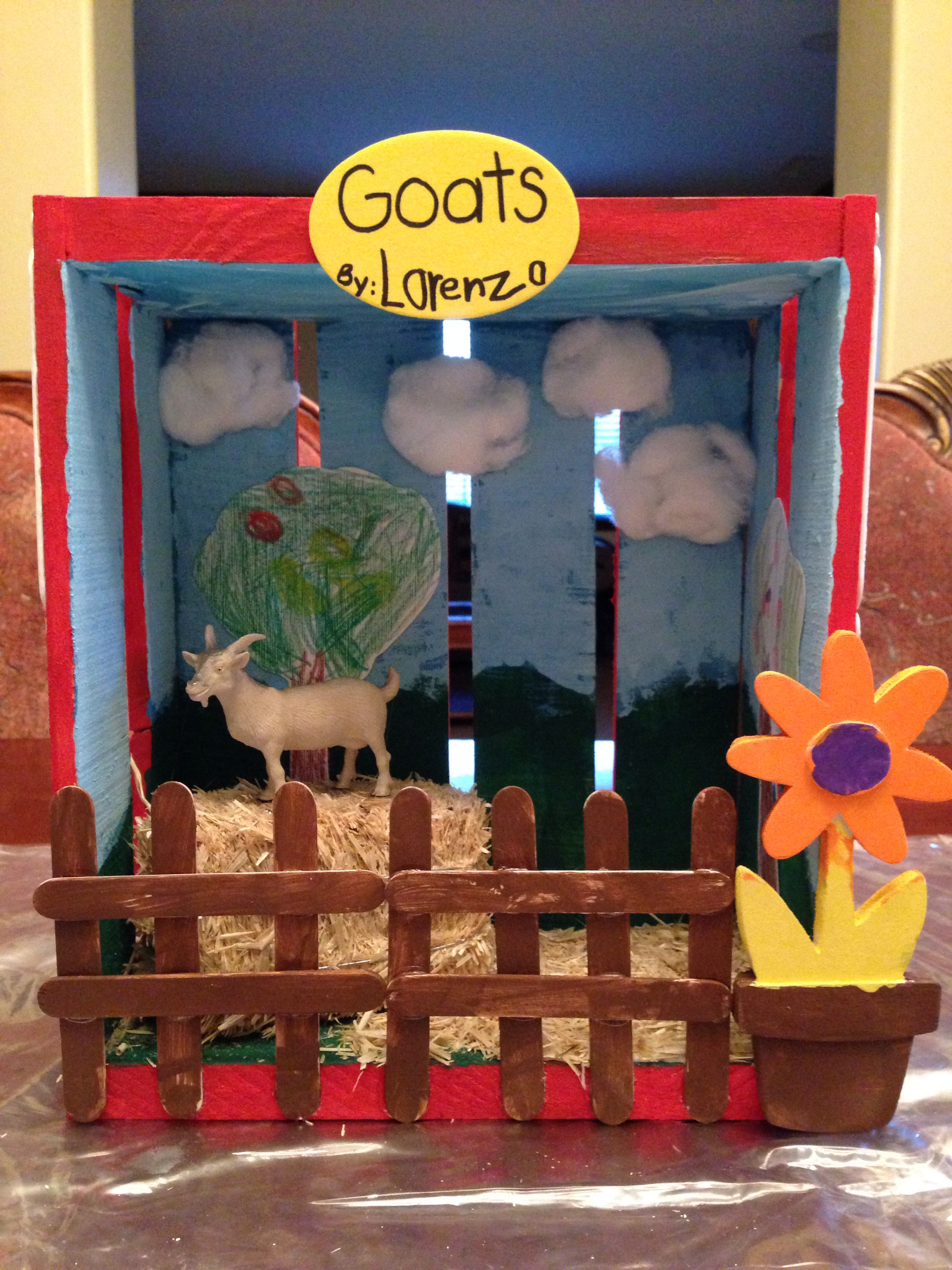 Kids Diorama With Details: Goat On A Farm.... Kindergarten Project