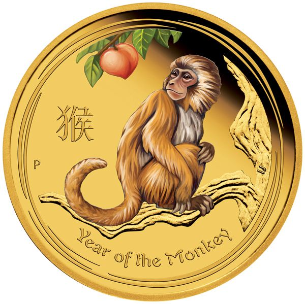 AUSTRALIA 2016  25 $ Dollar - Lunar Series II - Year of the Monkey - 1/4 Oz. Gold Color Proof Coin - Mintage 5,000 Coins. AUSTRALIEN 2016  25 $ Dollar - Lunar II - Jahr des Affen - 1/4 Oz. Gold Farbe in Polierter Platte - Auflage 5.000 Exemplare.