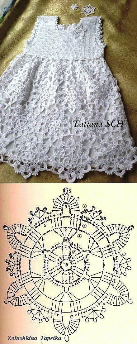 vestido nena crochet-blanco-ot... (2) - #crochetblancoot #nena #vestido #uncinettoperbambina