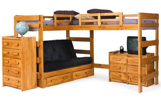 Boone Sleeps 3 Or 4 Higher L Shape Loft Bed Bunk Bed With Desk Futon Bunk Bed L Shaped Bunk Beds