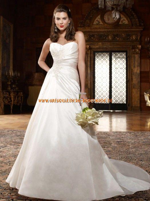 2013 Klassische elegante Brautkleider aus Satin A-Linie mit Schleppe ...