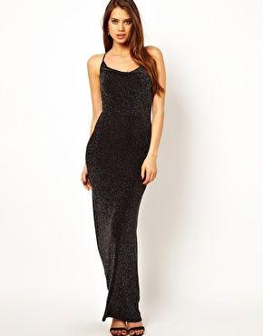 170bbabfce5 Image 1 of Lipsy Cowl Neck Maxi Dress in Glitter Jersey