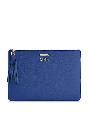 GiGi New York Personalized Uber Pebbled Leather Pouch