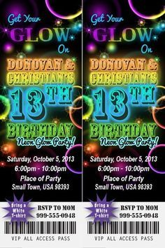 Neon Glow Birthday Party Invitation Ticket Stub In The Dark