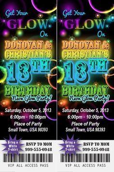 Neon Glow Birthday Party Invitation Ticket Stub In The Dark Bracelet