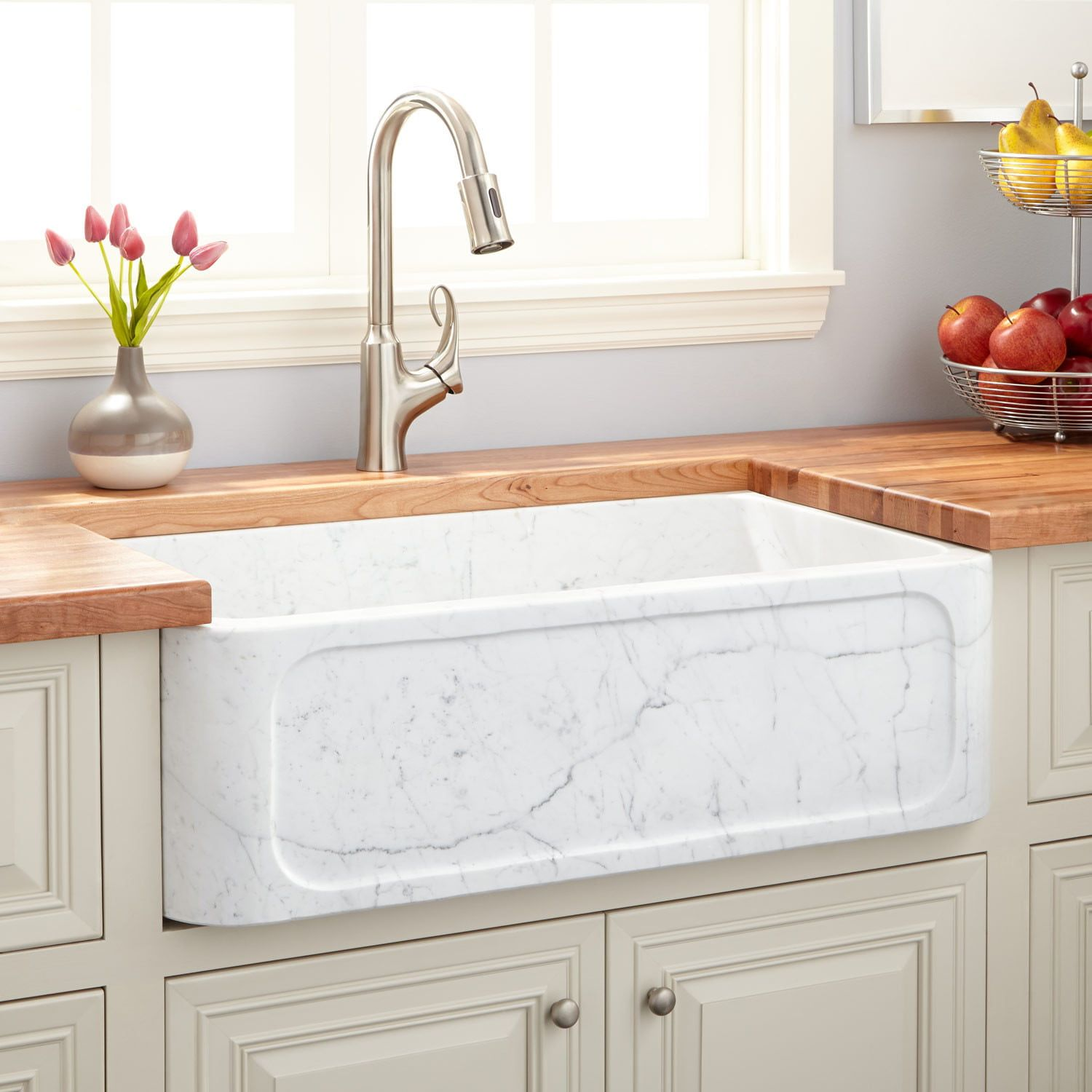 "30"" Polished Marble Farmhouse Sink In Recessed Apron In"
