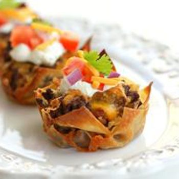 Taco Cupcakes.  I plan to try this with ground turkey instead of beef, low-sodium taco seasoning, and lowfat refried black beans.