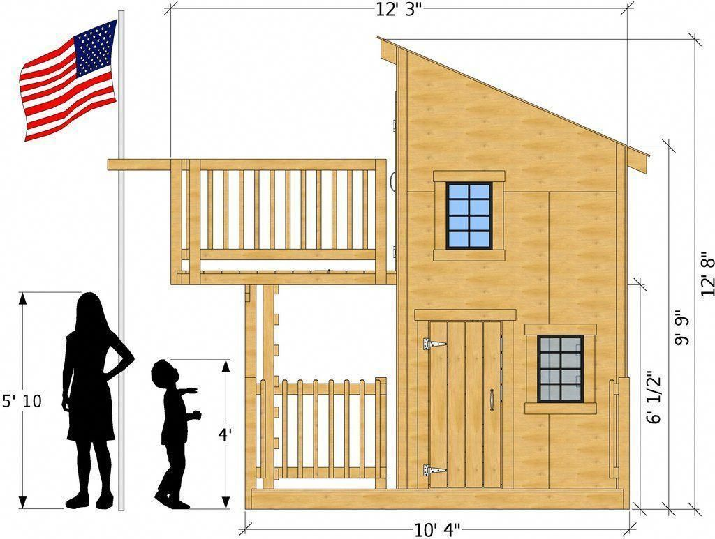 Diy loft bed with slide plans  front isometric view of deluxe playhouse plan backyardplayhouse
