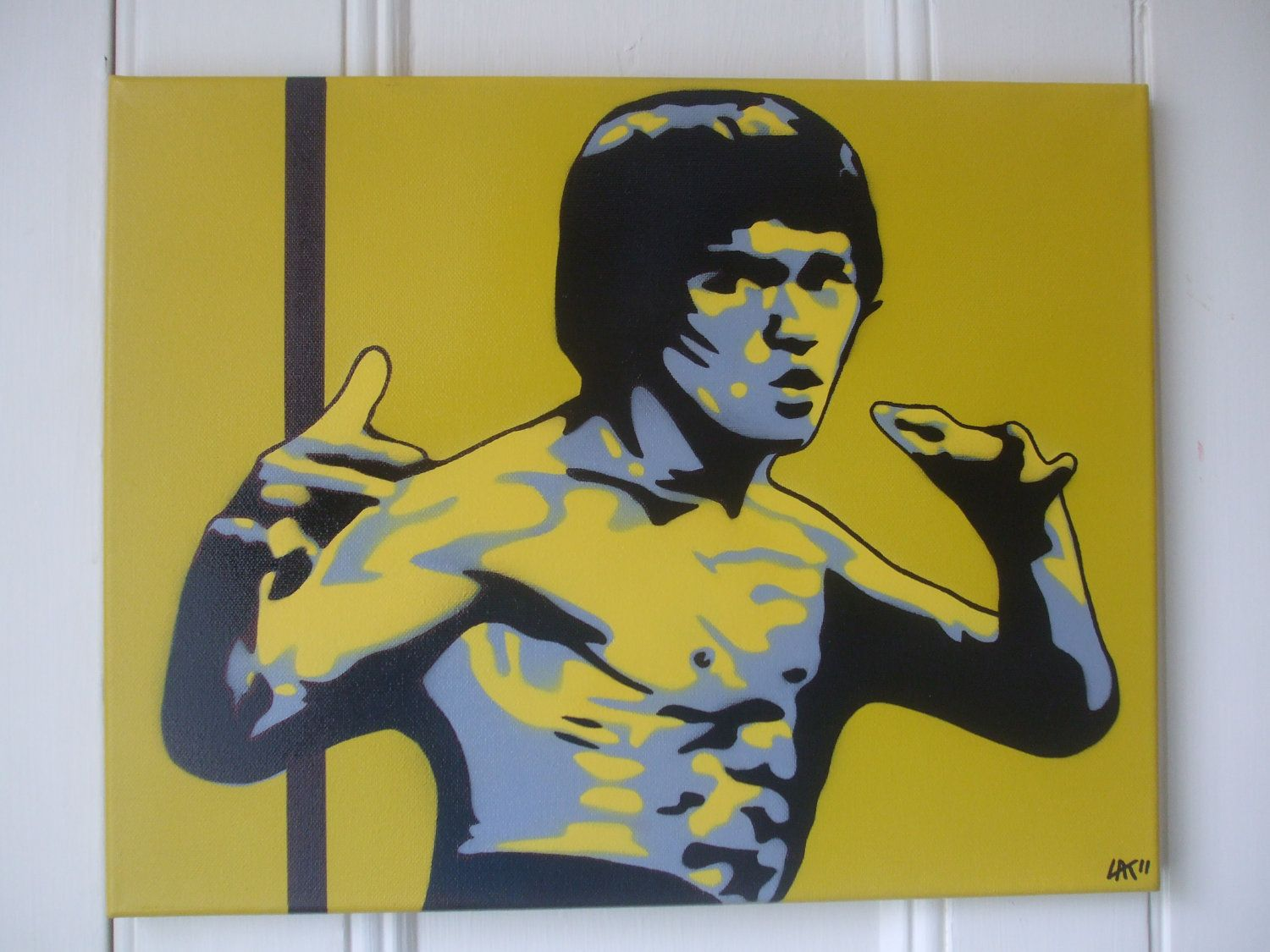 Bruce Lee kill bill,painting on canvas,stencils,spray paints,yellow ...