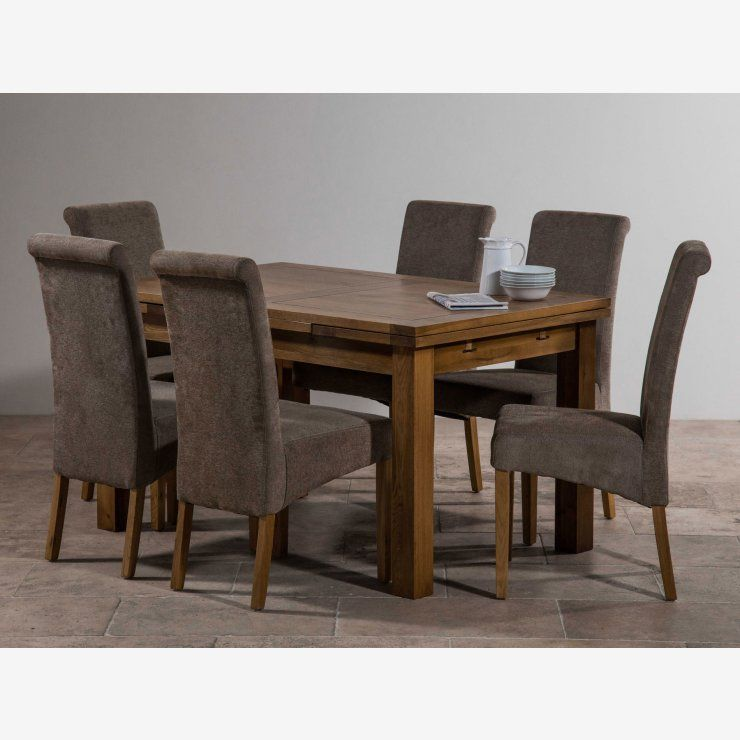 Rustic Solid Oak Dining Set 4ft 7 Extending Table With 6 Sage