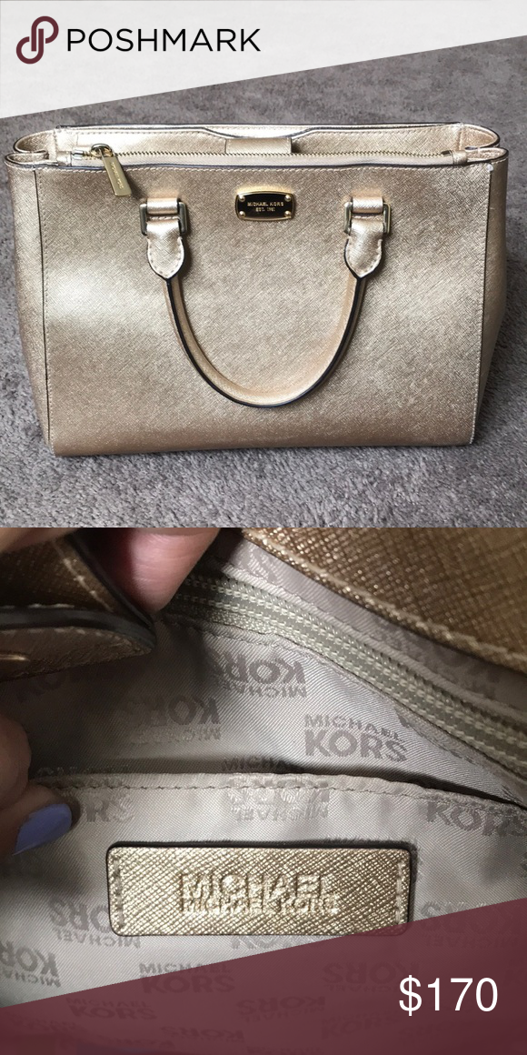 a48bc68ba3747 Michael Kors medium size purse. Michael Kors gold color. Michael Kors Bags  Shoulder Bags