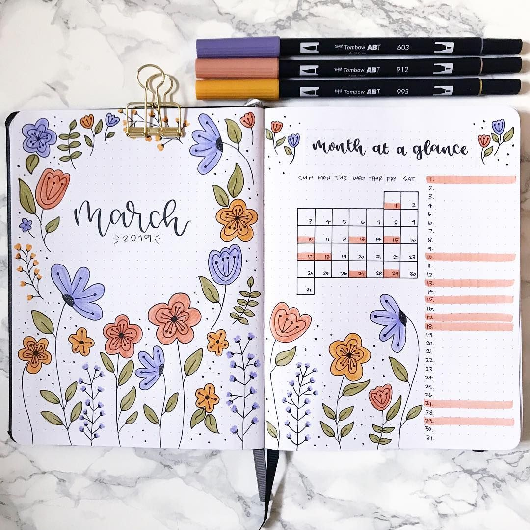 "Andrea on Instagram: ""Sticking with florals for my March theme ✨ . . . . . Inspired by @studyandstuffx94 February theme 🤗 . . . . . #bulletjournaling…"""
